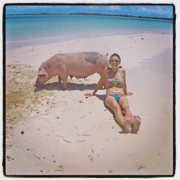 Dion Lim at Pig Beach in Exuma, Bahamas