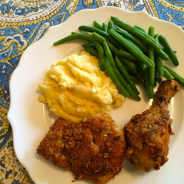 Southern Fried Chicken with Cheesy Cauliflower Grits and Green Beans