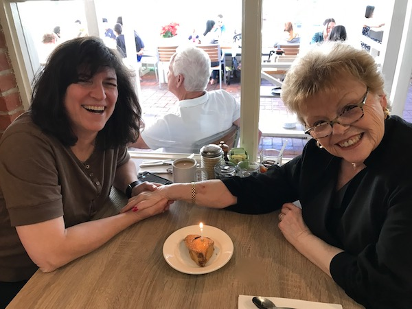 Diana and Mom at Shorehouse Kitchen La Jolla with the Birthday Scone!
