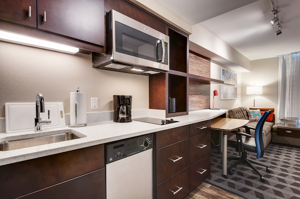 Full kitchen at TownePlace Suites.