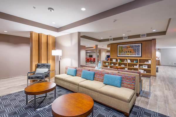 Comfortable and relaxing lobby space. at TownePlace Suites.