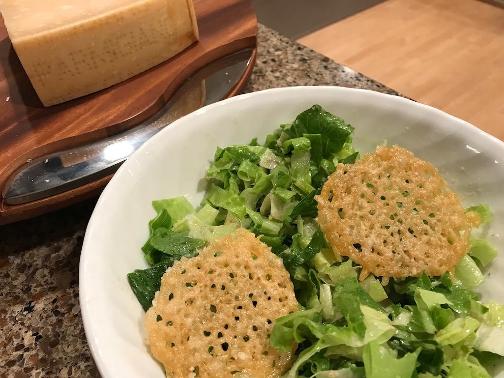 Parmigiano Reggiana Crisps on salad