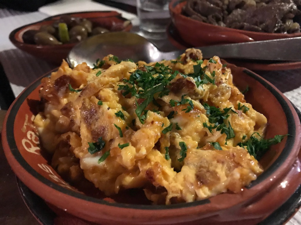 Appetizer of Eggs with chirizo, olives and beef liver at Casa de Ratas Tomar Portugal