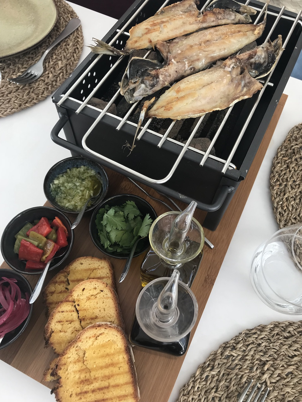Grilled Fish at the table at Mar Nazare Portugal