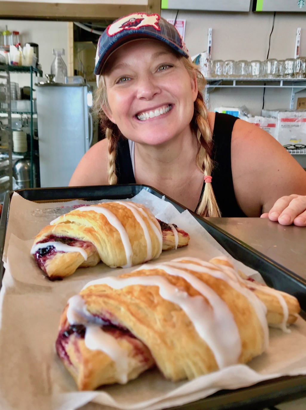Kim At Mountain Mama Cafe in West Yellowstone with her Huckleberry Turnover