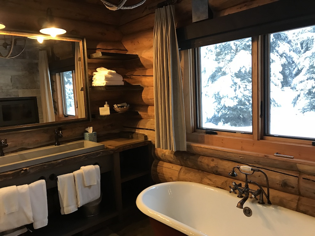 Lone Mountain Ranch Fireplace in the Bathroom
